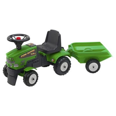Green Tractor Ride On with Trailer