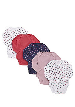 F&F 5 Pack of Blueberry Print and Pointelle Long Sleeve Bodysuits - Multi