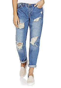 Jacqueline De Yong Ripped Boyfriend Jeans - Mid wash