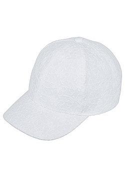 F&F Broderie Anglaise Baseball Cap - White