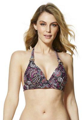 F&F Paisley Print Halterneck Bikini Top Purple Multi 10
