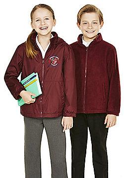 Unisex Embroidered Reversible School Fleece Jacket - Burgundy