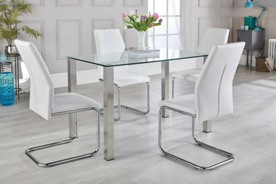 Salerno Glass And Brushed Stainless Steel Metal Dining Table And 4 White Lorenzo Chairs