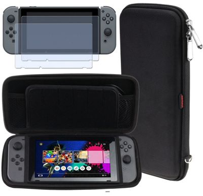 Navitech Black Compact Travel Hard Carry Case and Screen Protector For The Nintendo Switch