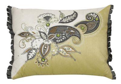 Pistachio and Cream Small Cushion Sequin Paisley Design