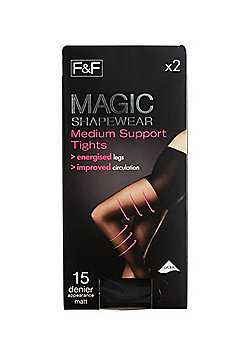 F&F 2 Pack of Magic Shapewear 15 Denier Medium Support Tights with Lycra® - Black