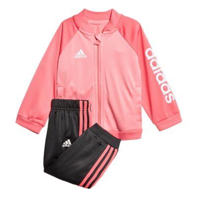 adidas Shiny Sports Infant Kids Girls Tracksuit Set Pink - 9-12 Months