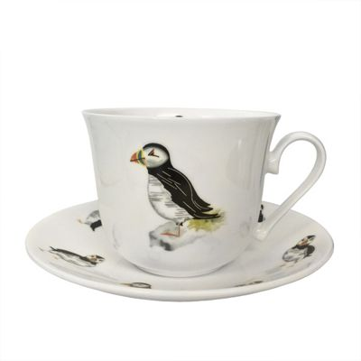 Roy Kirkham Breakfast Cup & Saucer Puffin Parade