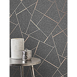 Buy Quartz Fractal Wallpaper Charcoal And Copper Fine Decor Fd42283