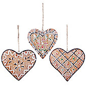 Set of 3 Hanging Gingerbread Cookie Heart Christmas Tree Decorations