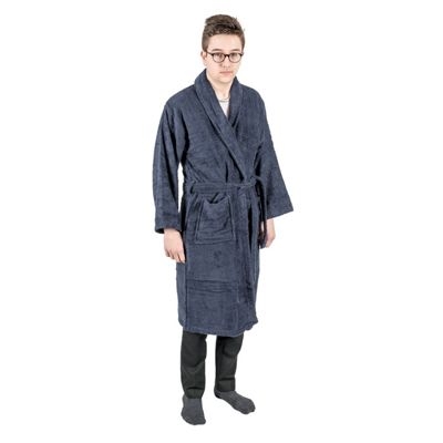 Homescapes Navy 100% Egyptian Cotton Terry Towelling Adults Shawl Collar Bathrobe, XXL