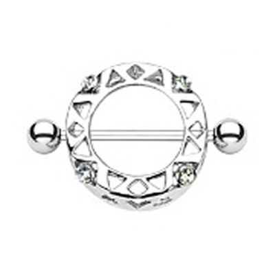 Urban Male 1.6mm Stainless Steel Nipple Shield With Colour CZ Stones in clear