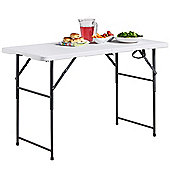VonHaus 4ft (1.2m) Adjustable Height Folding Trestle Table for Picnic/Garden/Beach/Camping - Max Load 200Kg,
