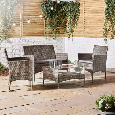 Vonhaus 4 Piece Rattan Sofa Set Grey