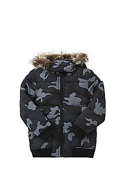 F&F Camo Print Faux Fur Trim Puffer Coat - Blue