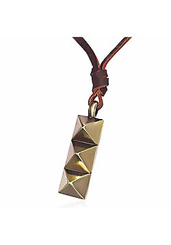 Urban Male Genuine Brown Leather Necklace with Gold Coloured Ingot Stud Pendant