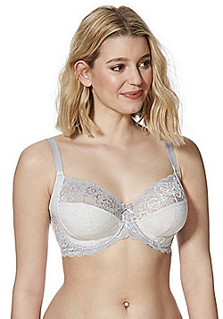 F&F Pretty Everyday Lace Trim Fuller Bust Bra - Grey