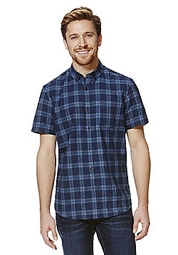 F&F Checked Linen Blend Short Sleeve Shirt - Indigo