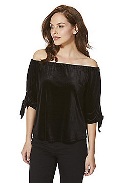 Only Velour Tie Sleeve Bardot Top - Black