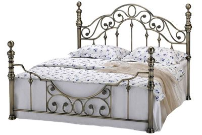 Canterbury Victorian Vintage Antiqued Brass Metal Double Bed Frame