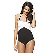 F&F Luxury Swimwear Halterneck Bandeau Swimsuit - Black & White