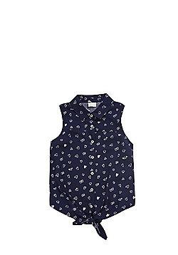 F&F Heart Print Tie Front Shirt - Navy Blue/White