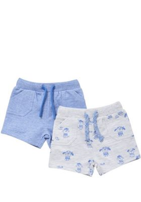 F&F 2 Pack of Pirate Dog and Plain Sweat Shorts Blue 3-6 months