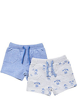 F&F 2 Pack of Pirate Dog and Plain Sweat Shorts - Blue