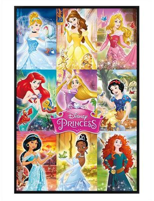 Disney Princess Gloss Black Framed Princess Collage Poster