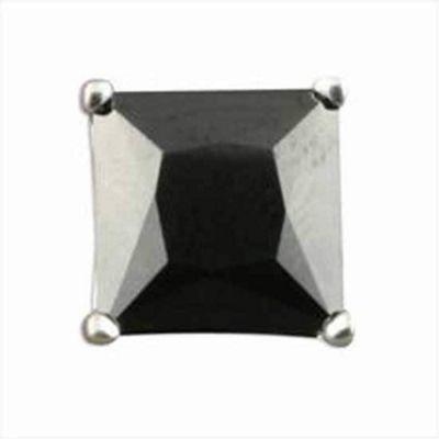 Urban Male Men's Sterling Silver 6mm Black Square CZ Single Stud Earring
