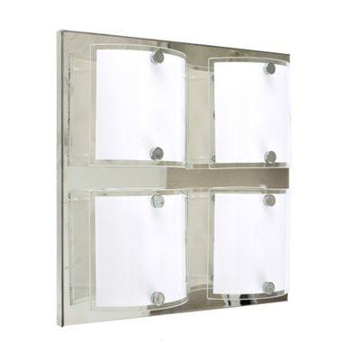 Vista 4 Way Ceiling Light, Chrome & Curved Glass Shade