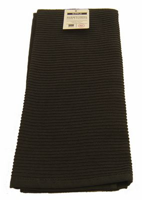 Now Designs Single Ripple Kitchen Tea Towel, Black