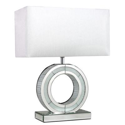 Small Metropolitan Silver Mirror 'O' Lamp With White Shade
