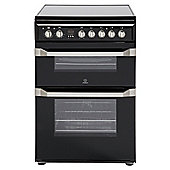Indesit Electric Cooker with Electric Grill and Ceramic Hob, ID60C2(K) S - Black