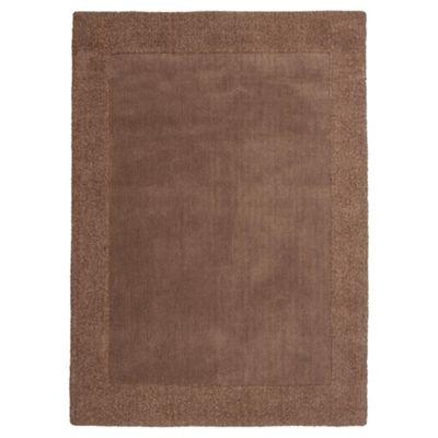 Tesco Tiered Border Wool Rug Mocha 120X170Cm