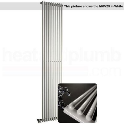 DQ Heating MKV25 Chrome Vertical Tubed Radiator 1010mm High x 467mm Wide