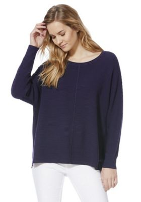 F&F Ribbed Batwing Jumper with As New Technology Navy 10