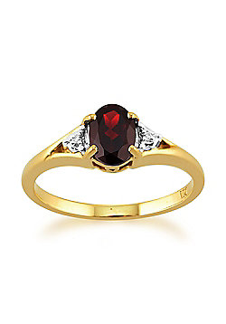 Gemondo 9ct Yellow Gold 0.77ct Natural Garnet & Diamond Single Stone Ring