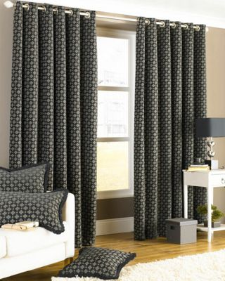 Belmont Eyelet Lined Curtains Black 66x72