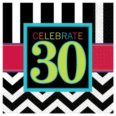 30th Birthday Beverage Napkins - 2ply Paper - 16 Pack