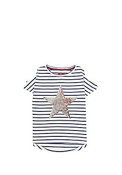 F&F Two Way Sequin Star Cold Shoulder T-Shirt - White