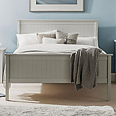 Happy Beds Maine Wooden High Foot End Bed with Orthopaedic Mattress - Light grey