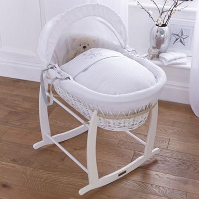 Clair de Lune Stardust White Wicker Moses Basket (White)