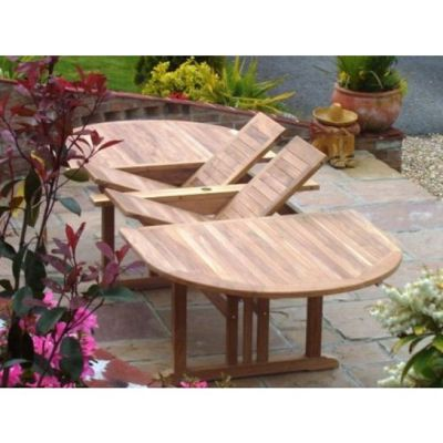 Teak Double Extending Oval Garden Table