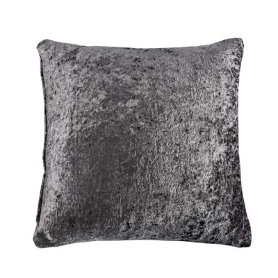 Homescapes Dark Grey Luxury Crushed Velvet Cushion Cover, 45 x 45 cm