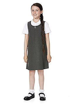 F&F School 2 Pack of Heart Zip Permanent Pleat Pinafores - Grey