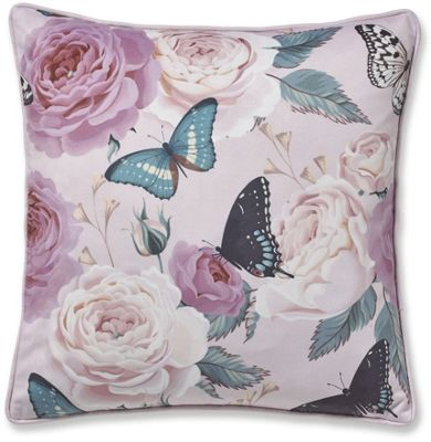 Catherine Lansfield Botanical Butterfly Cushion Cover - Pink
