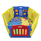 MCC Plastic Baby Playpen with Activity panel Mats 6 Sides (Blue)