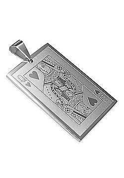 Urban Male Men's Pendant Queen of Hearts Playing Card In Stainless Steel