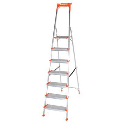 Trade Aluminium 7 Tread Wide Comfort Platform Step Ladder